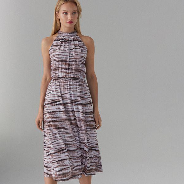 684522eb Midi sukienka z dekoltem halter - Brązowy