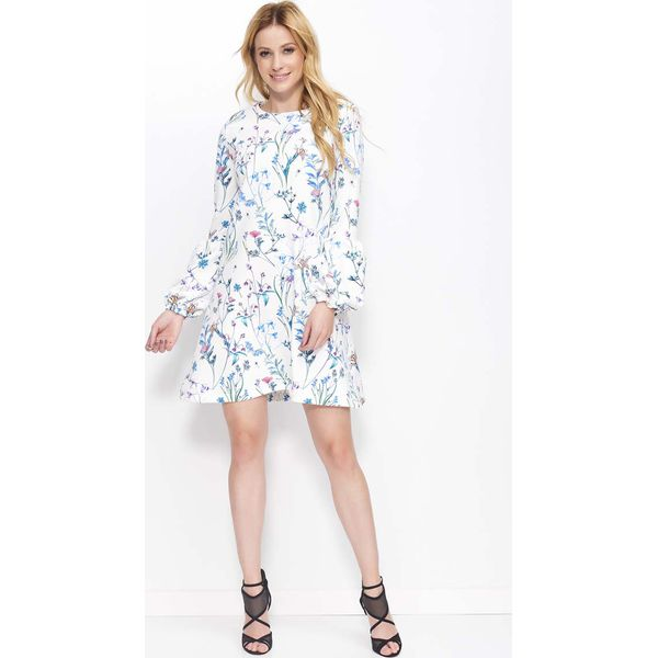 47e1852e Biała Sukienka Trapezowa w Kwiaty z Bufiastym Rękawem