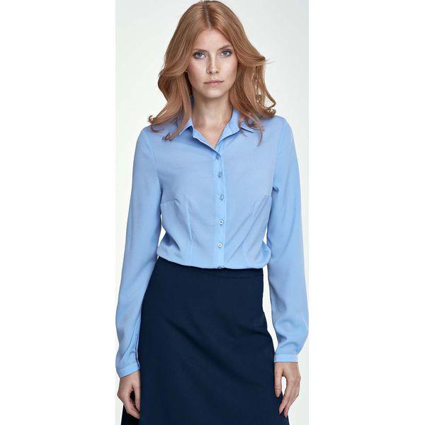 f11c35e23d168f Błękitna Klasyczna Bluzka Koszulowa - Niebieskie bluzki damskie ...