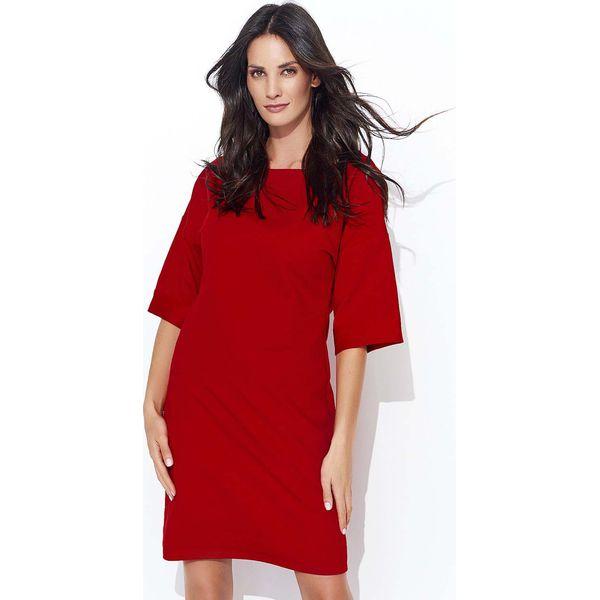 3e3812e2a4 Czerwona Dresowa Sukienka z Szerokim Rękawem do Łokcia - Sukienki ...