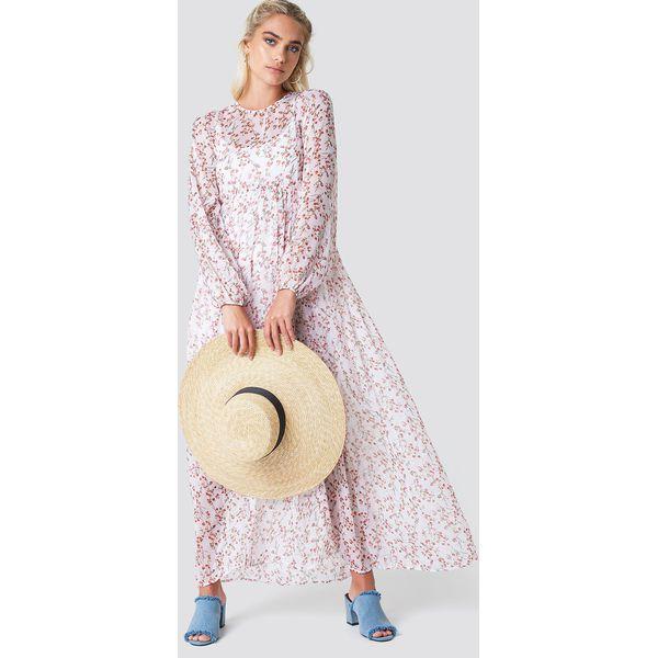 e2a59be8 NA-KD Boho Sukienka maxi z bufiastym rękawem - Pink,White,Multicolor