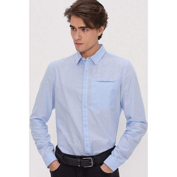Niebieskie koszule męskie Kolekcja wiosna 2020 Sklep  Tv12Y