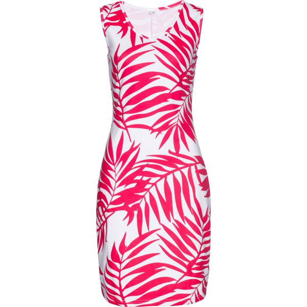 a84327a58b Sukienka shirtowa z nadrukiem bonprix różowy hibiskus - biały z ...