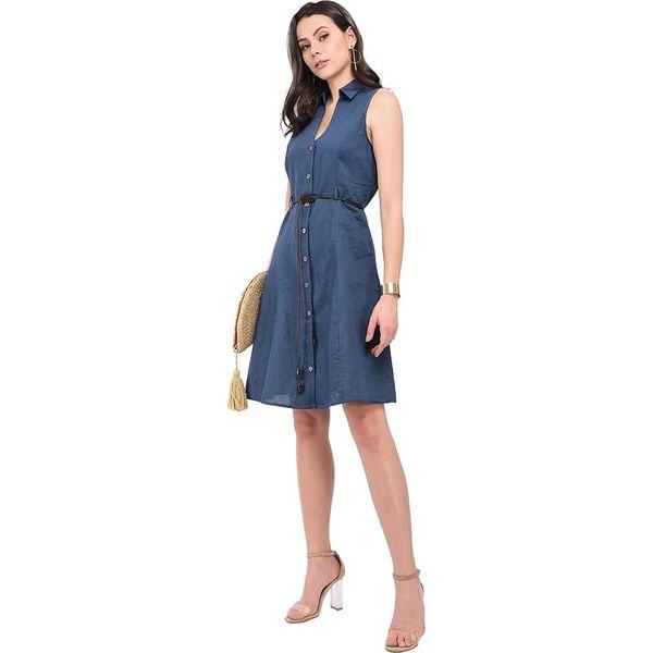 e3004457d6 Lniana sukienka w kolorze granatowym - Niebieskie sukienki damskie ...