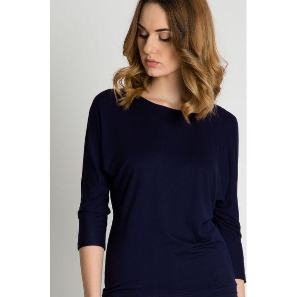 e059213e05781f Granatowa bluzka z rękawem 3/4 BIALCON - Bluzki damskie marki ...