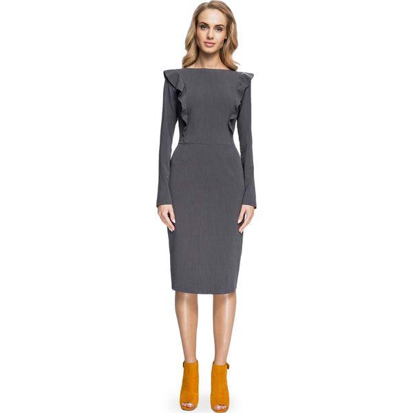 bf69e63f8a Ołówkowa Sukienka z Falbankami przy Rękawach- Szara - Sukienki ...