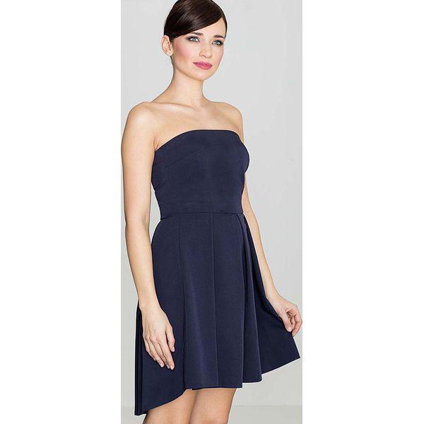 898a578682 Elegancka Granatowa Gorsetowa Sukienka z Dłuższym Tyłem - Sukienki ...