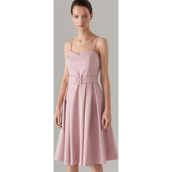 c5a9ce6d Rozkloszowana sukienka z paskiem Celebration - Kremowy