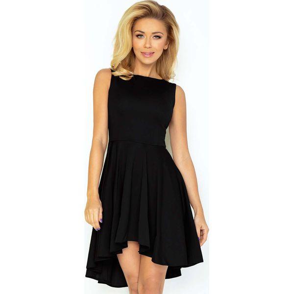 c501ad3a36ae6a Czarna Sukienka Elegancka Mocno Rozkloszowana z Wydłużonym Tyłem ...