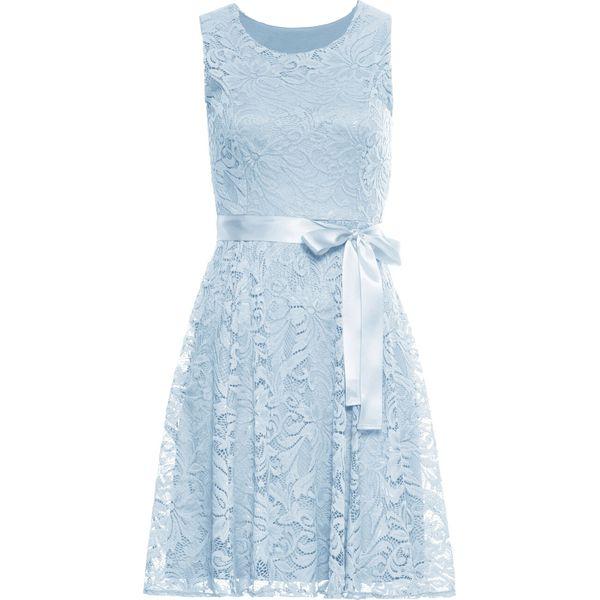 abdc4252aa321e Sukienka koronkowa z satynowym paskiem bonprix jasnoniebieski - Niebieskie  sukienki damskie bonprix, na imprezę, bez wzorów, z koronki, bez  kołnierzyka, ...