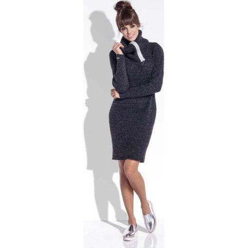 4eeb1de6b7 Czarna Wełniana Sukienka z Dużym Golfem - Sukienki damskie marki ...