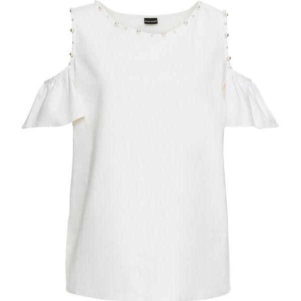 69f51eb9bb Bluzka lniana z wycięciami na ramionach i perełkami bonprix biały ...