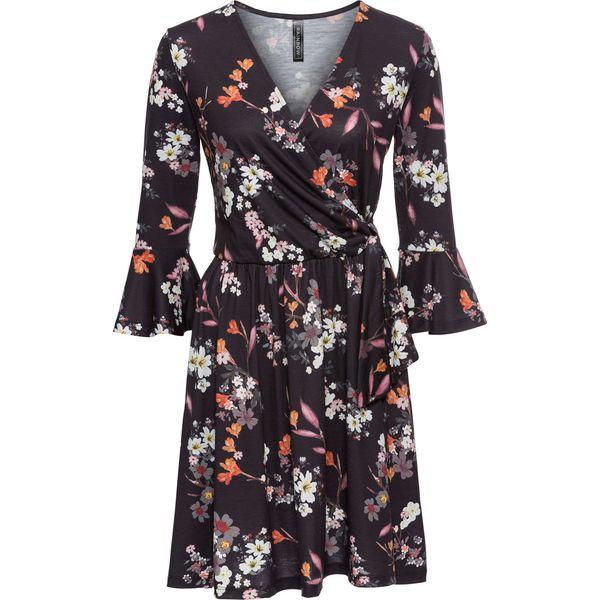 3a0f7bb9c7 Sukienka shirtowa bonprix czarny w kwiaty - Sukienki damskie marki ...