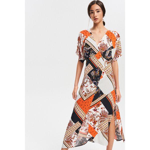 bc1846da Sukienka midi z wiskozy - Pomarańczo