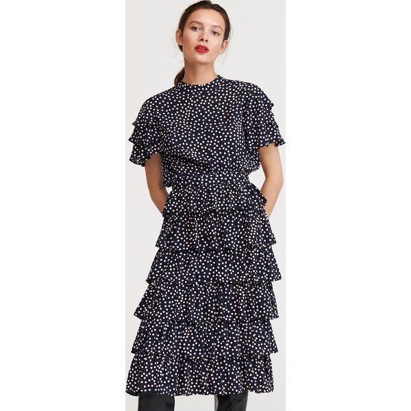 Sukienka z falbanami Granatowy