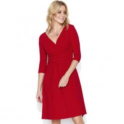 04e9c8b6d1 Czerwona Dresowa Sukienka z Dekoltem V. Sukienki damskie marki Molly.pl. Za  119.90