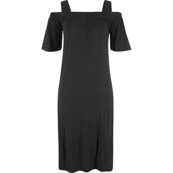 Luźniejsza sukienka z dekoltem carmen na szerokich ramiączkach bonprix czarny