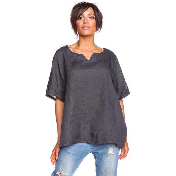 7bde13ab8f Lniana bluzka w kolorze antracytowym - Bluzki damskie marki 100% Lin ...