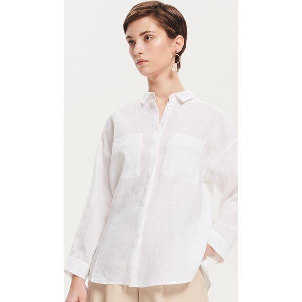 43fd80c0d3 Lniana koszula - Biały - Koszule damskie marki Reserved. Za 119.99 zł. -  Koszule damskie - Odzież damska - Kobieta - Sklep Super Express