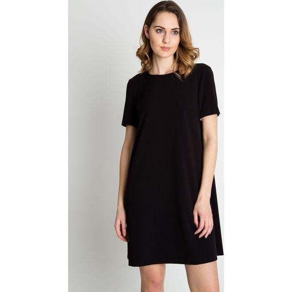 710f512d92 Czarna delikatna sukienka z krótkim rękawem BIALCON - Sukienki ...