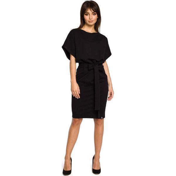 a06f924284 Czarna Sukienka Przewiązana Paskiem z Nietoperzowym Krótkim Rękawem ...