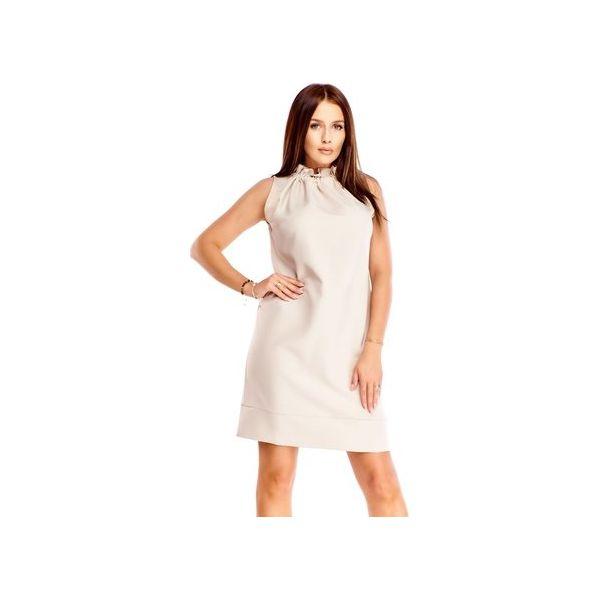 10624011 Pudełkowa sukienka z marszczoną stójką