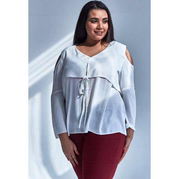 a093dd976a7f Nowoczesna bluzka w kolorze ECRU z wiązaniem duże rozmiary OVERSIZE ...