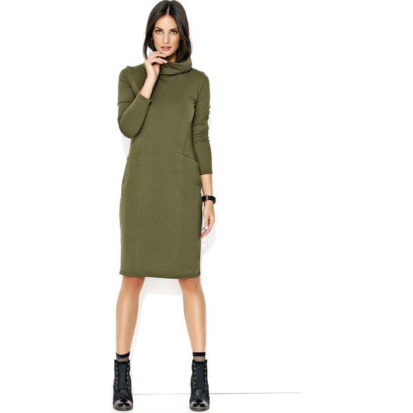 bbc7580f5e Khaki Dresowa Midi Sukienka z Golfem - Sukienki damskie marki Molly ...
