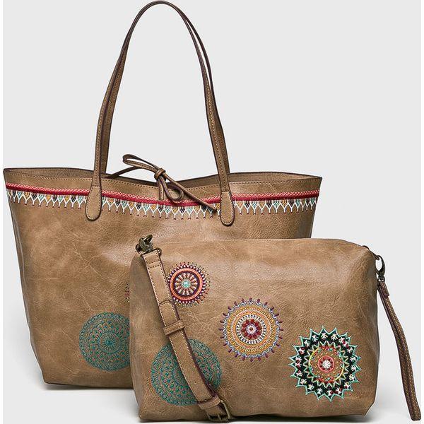 59cae64406538 Desigual - Torebka - Szare torebki klasyczne damskie marki Desigual, z  haftami, z materiału, duże, z haftem. W wyprzedaży za 239.90 zł.