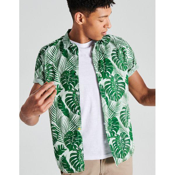 3f6f839e99cd6b Koszula z krótkim rękawem all over - Zielony - Koszule męskie Cropp. Za  59.99 zł. - Koszule męskie - Odzież męska - Mężczyzna - Sklep Super Express