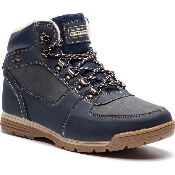 Granatowo Niebieskie Trapery Ethlon Niebieskie buty zimowe