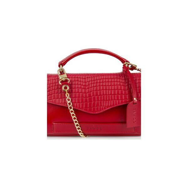 c6504992aa5622 Elegancka skórzana kopertówka na łańcuszku - Czerwone torebki wieczorowe  marki Gawor, bez wzorów, eleganckie, bez kołnierzyka, bez ramiączek. Za  349.00 zł.