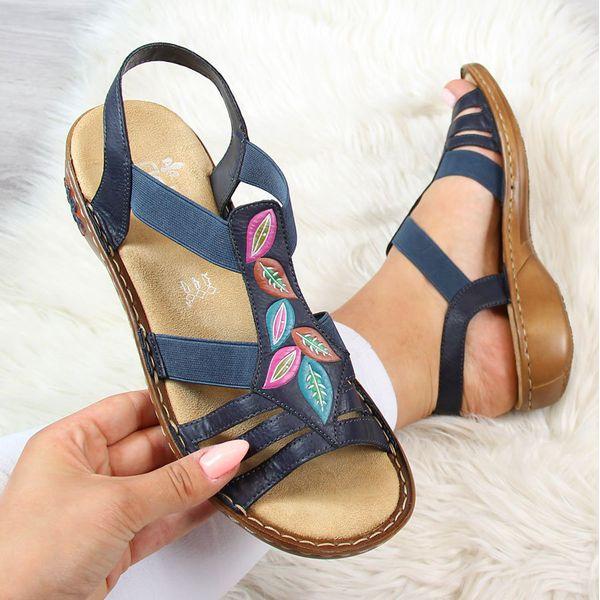 Granatowe sandały skórzane z kokardą Rieker 66178 14 ButyRaj.pl