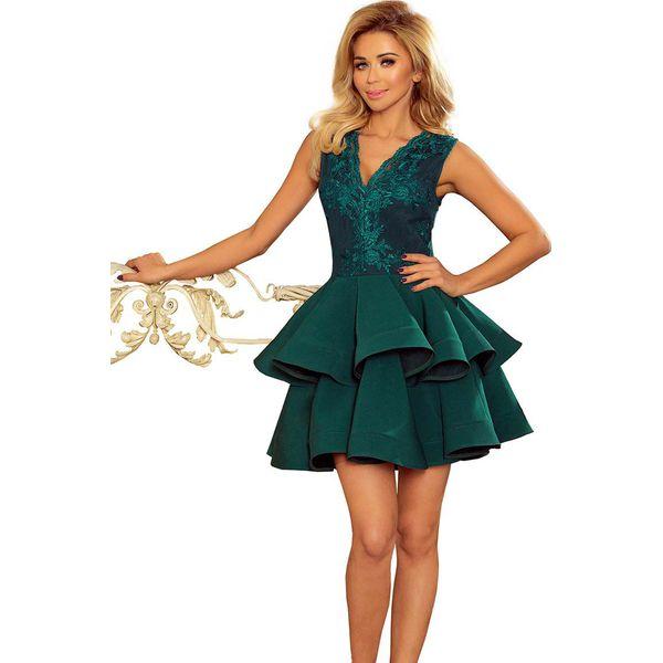 93ab53169b6b03 Zielona Rozkloszowana Imprezowa Sukienka z Koronką - Sukienki ...