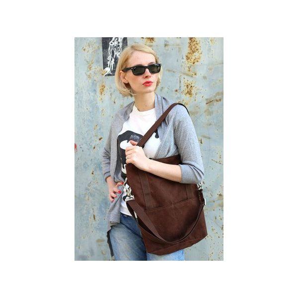 e542968863c9e Brunatna prostokątna torba A4 z zamszu ekologicznego na ramię ...