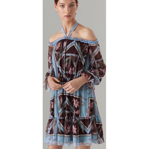 28645625 Szyfonowa sukienka open shoulder - Brązowy