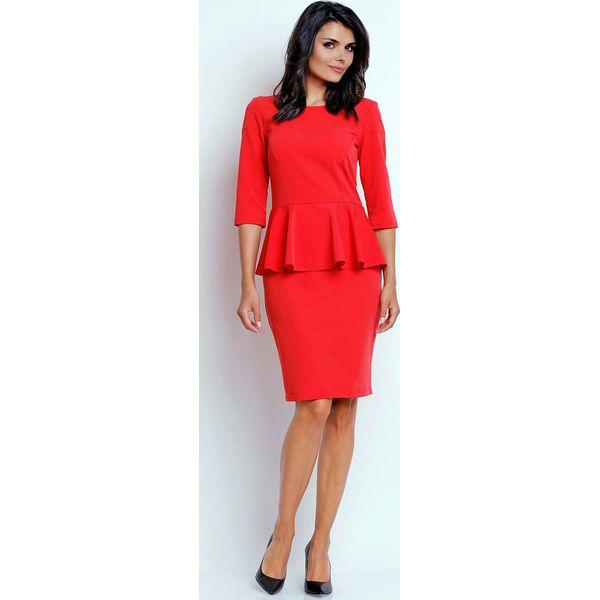 139ddeb384 Czerwona Wizytowa Sukienka Midi z Baskinką - Sukienki damskie marki ...