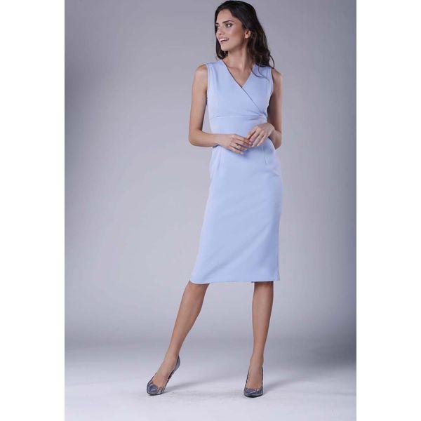 9eb16601 Błękitna Ołówkowa Sukienka Midi bez Rękawów z Kopertowym Dekoltem