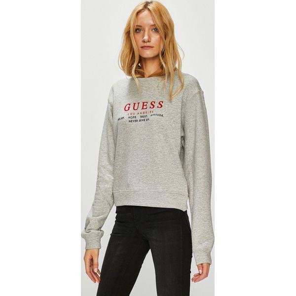 525e293956316 Guess Jeans - Bluza - Szare bluzy z nadrukiem damskie marki Guess Jeans
