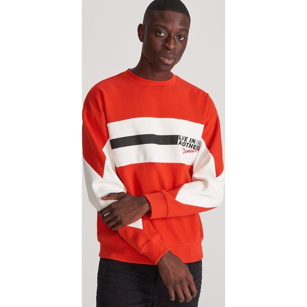 Bluza z kolorowymi wstawkami Czerwony