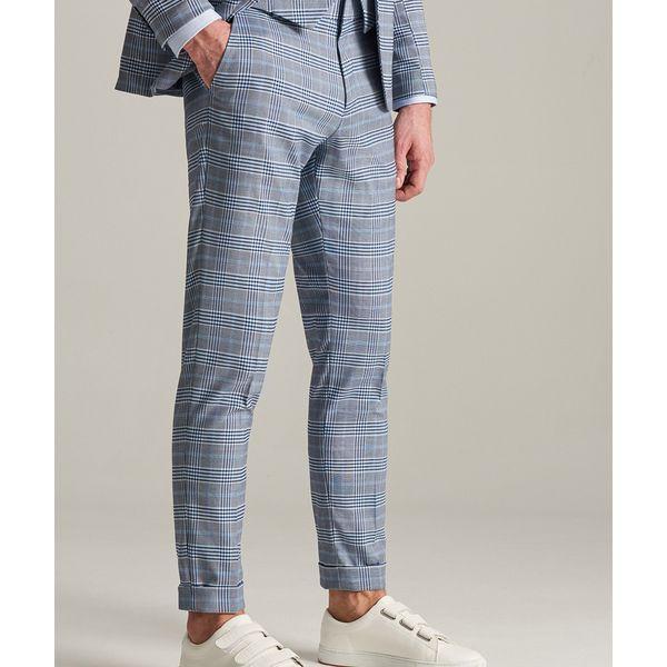 e140f49357a12 Spodnie garniturowe w kratę - Turkusowy - Spodnie wizytowe męskie ...