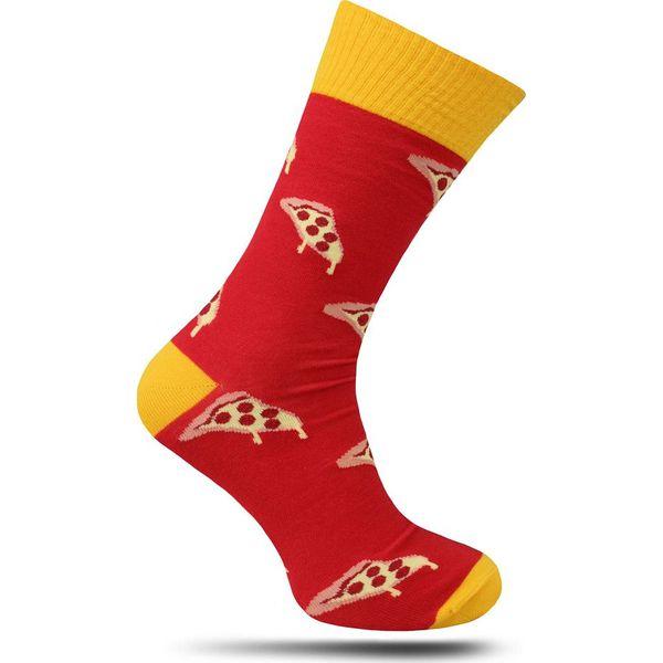 Czerwono Żółte Skarpetki MORE Męskie, Casualowe, w Pizze, Fast Food, Jedzenie SKMORE211079PIZZAred