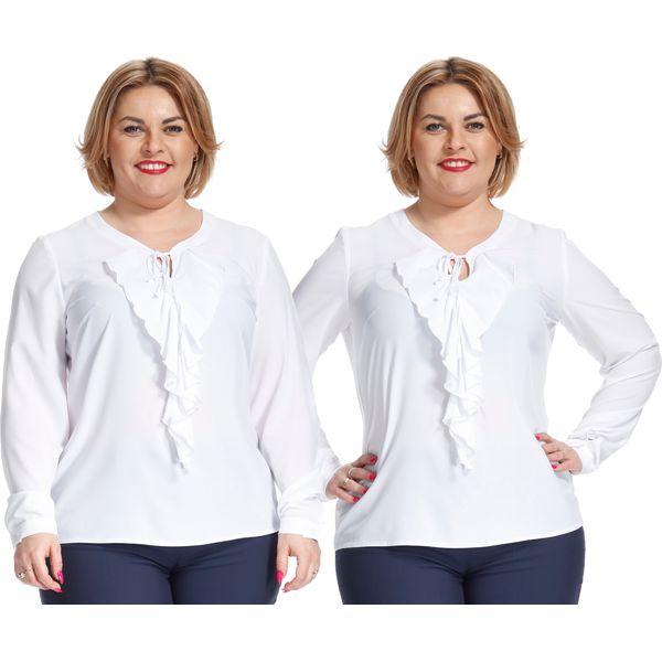 f7a943d628 Wyjątkowa biała bluzka z żabotem PLUS SIZE - Bluzki damskie marki ...