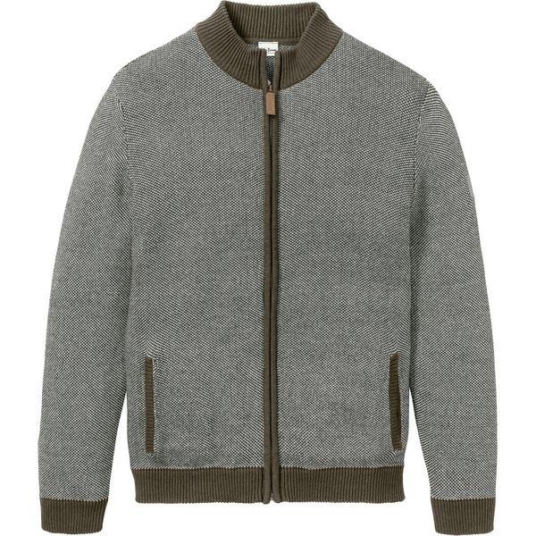 Sweter rozpinany ze stójką bonprix ciemnooliwkowo biały