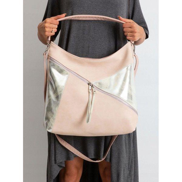 Torebka damska shopper bag worek 0011 różowo srebrna różowy