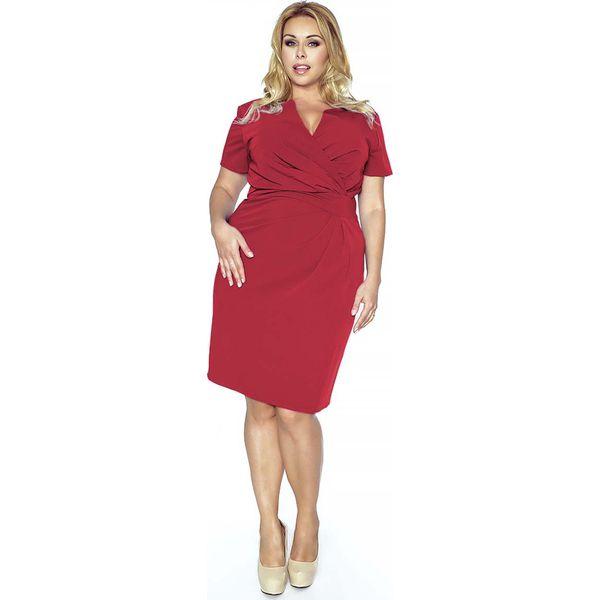 710b7bef54 Czerwona Elegancka Sukienka Plus Size z Założeniem Kopertowym ...