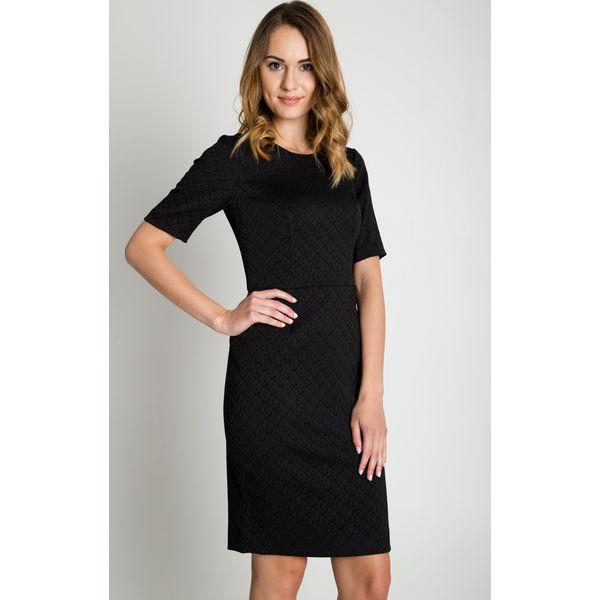 e88e515603 Żakardowa czarna sukienka z podszewką i krótkim rękawem BIALCON ...