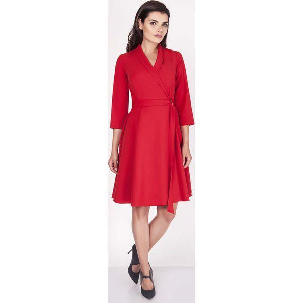 bfe1e4a6ca3c0e Czerwona Sukienka Rozkloszowana Kopertowa z Paskiem - Sukienki ...