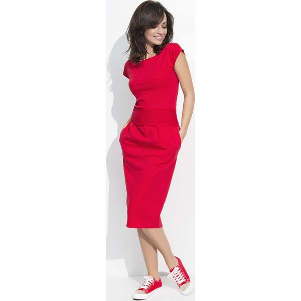 6794308469 Czerwona Sukienka Bombka Midi z Rękawkiem - Sukienki damskie marki ...