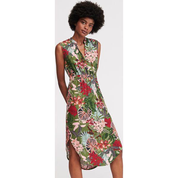 113b06f3 Sukienka z motywem roślinnym - Wielobarwny